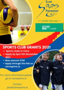 Small club grants poster contact jess@claresports.ie